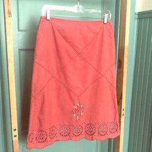 Anthropologie embroidered eyelet skirt